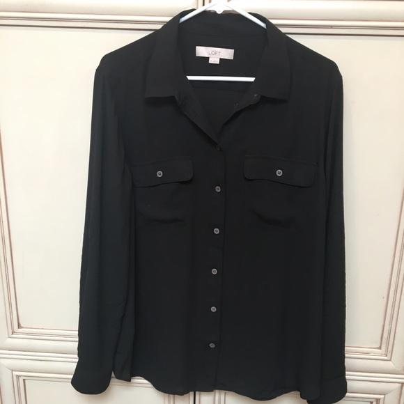 Loft Tops Dressy Button Down Blk Long Sleeved Blouse Xl Poshmark